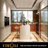 島Tivo-0020Vが付いている現代光沢度の高い白HPLのラッカー食器棚