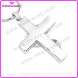 Jóias Memorial de aço inoxidável colar de pingente de cruz com cristal Ijd9699
