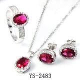 De Juwelen van de fantasie 925 Zilveren Reeksen van het Huwelijk van CZ van de Saffier