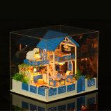 Casa de campo de madeira da casa de boneca DIY do baixo brinquedo das crianças de MOQ