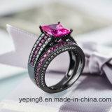 까만 도금 형식 분홍색 교전 925 은 반지 Set57