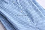 Chemise de coton bleue du `S de femmes de plaid