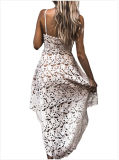 Hollow Lace Nude Illusion Hi-Low vestido de fiesta