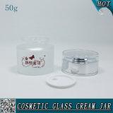 50ml de berijpte Kosmetische Kruiken van het Glas van de Room van het Gezicht van de Kruik van het Glas Lege