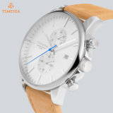 O relógio impermeável 72397 do esporte do cronógrafo do aço inoxidável dos homens do relógio de pulso do couro o mais novo da forma de Europa