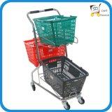 Carro de compra da cesta do supermercado três do estilo japonês, trole da compra,
