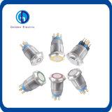 LEDのリングによって照らされるステンレス鋼の小さい円形の押しボタンスイッチ