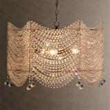 女の子部屋、寝室のためのフランスのペンダント灯をつける正方形の明確な水晶シャンデリア
