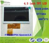 """écran de TFT LCD de 4.3 """" 480X272 RVB, St7282, 40pin pour la position, sonnette, médicale"""