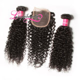 Fechamento Curly 4*4 do laço do cabelo humano do Virgin peruano atrativo de Remy