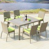 안뜰 고리 버들 세공 가구 정원 본사 알루미늄 플라스틱 목제 테이블과 팔 의자 (J818-90)