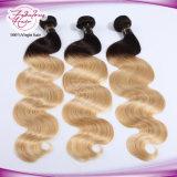 8A Ombre blondes menschliches Remy Farben-Karosserien-Wellen-Haar des Haar-613#