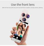 4 dans 1 clip de lentille de paysage sur la lentille de téléphone des poissons Eye+Macro de lentille