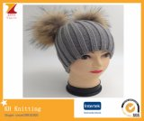 Two Raccoon Fur Pompoms Knitted Hat