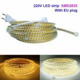 luz de tira de 220V SMD2835 el 120LED/M LED con el enchufe de potencia de la UE