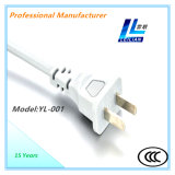 Cuerda eléctrica Yl-001 del enchufe con 6A/10A 2-Pin CCC aprobado