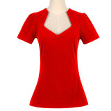 Candow Clothing Deep V Neck Ladies Plain Noir T-shirt sexy 100% coton