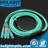 MPO al cable óptico de fibra del tronco del LC Om3