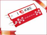 Retirer avant trousseau de clés de promotion de tissu de qualité de trousseau de clés de broderie de vol