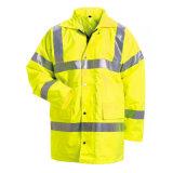 revestimento reflexivo da segurança da visibilidade elevada amarela impermeável do inverno