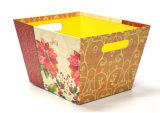 Rectángulo de almacenaje de papel impreso flor con la maneta