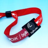 음악제 MIFARE 고전적인 1K RFID에 의하여 길쌈되는 소맷동 직물 팔찌