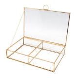 Heißer Verkaufs-goldener Glasschmucksache-Kasten Jb-1084