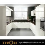 Armadio da cucina ondulato di qualità superiore tagliente e sexy con alto rivestimento bianco lucido Tivo-0205h della pittura del miele