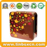 음식 급료, 금속 음식 콘테이너를 가진 정연한 초콜렛 주석 상자