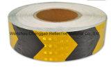 결정 격자를 가진 까맣고와 노란 화살 PVC 사려깊은 테이프