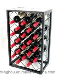 Cremalheira do vinho do metal do indicador de 32 frascos com parte superior de tabela de vidro