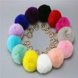 柔らかいColorfurlのウサギの毛皮の球のKeycainの毛皮POM POMの球のウサギの毛皮の球のkeychain