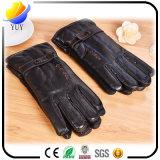 Hommes chauds d'automne et d'hiver avec des gants de cuir artificiel d'unité centrale de velours