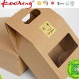Bolsas de papel modificadas para requisitos particulares del acondicionamiento de los alimentos de la impresión Kraft con la venta al por mayor clara de la ventana