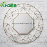 Favorable precio nuevo del diseño del hierro de oro espejo de pared redondo decorativo