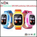 Relógio esperto Q90 do relógio do bebê do GPS com o perseguidor do dispositivo da posição do atendimento da tela de toque SOS de WiFi para o monitor Anti-Perdido seguro do miúdo