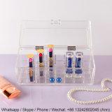 Salvar el soporte de visualización cosmético de acrílico, rectángulo de acrílico del maquillaje del estallido