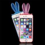Caja transparente flexible del teléfono celular de la forma del conejo de TPU para el iPhone