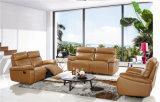 Wohnzimmer-Sofa mit dem modernen echtes Leder-Sofa eingestellt (789)