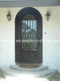 Kundenspezifische bearbeitetes Eisen-einzelne Haustür mit Niedrigem-e Glas
