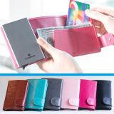 アルミニウムPUの革信用ボックス保護装置の札入れが付いている多彩な帯出登録者