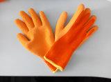 Перчатка работы безопасности отделки пены большого пальца руки латекса подкладки акриловой раковины Napping польностью покрытая (L2502)