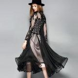 Черное сексуальное платье шнурка для одежды партии женщин