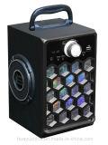 Altifalante Bluetooth de caixa de madeira com luz, cartão FM TF de suporte