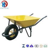 Pintar o Wheelbarrow amarelo da bandeja