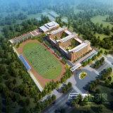 Schule-Spielplatz-Luftperspektive-Wiedergabe-Abbildungen