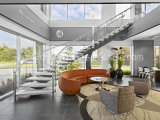 Escadaria de vidro da espinha média/espinha média escadaria curvada/escadaria helicoidal