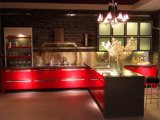 Mobilia rossa moderna dei 2016 di nuovo stile un'alta di lucentezza della lacca armadi da cucina