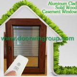 Ventana de inclinación y giro de aluminio de madera de roble, Ventana de apertura de aluminio Ventana de aluminio Sistema de bloqueo multipunto para seguridad en el hogar