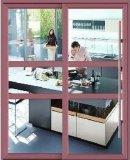 Роскошным серебряным раздвижная дверь алюминия пролома цвета застекленная двойником термально